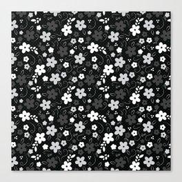 Black & White Floral Canvas Print