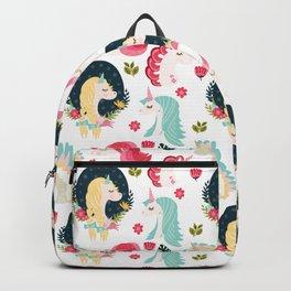 Pink Mint Unicorn Pattern Backpack