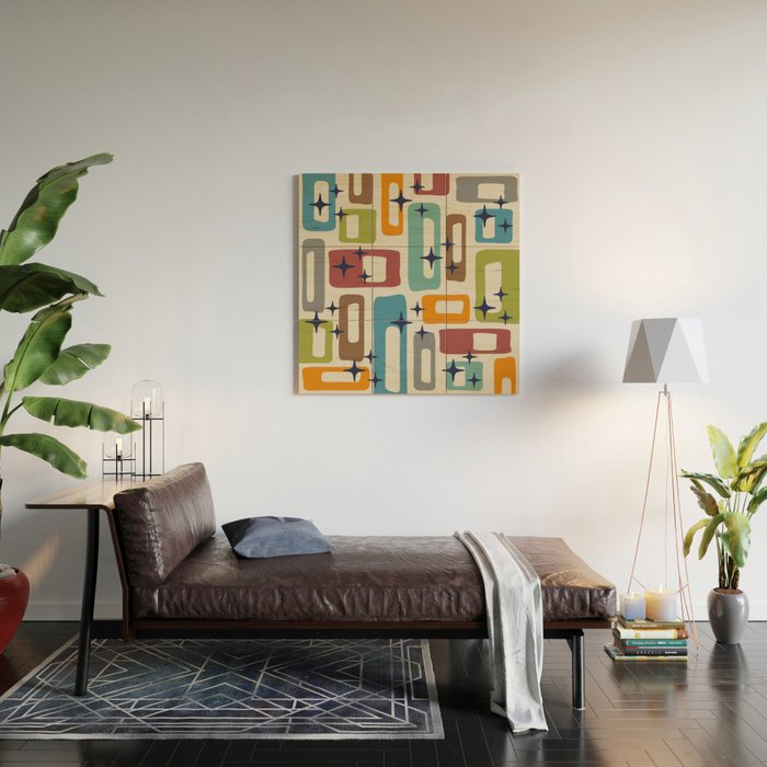 Retro Mid Century Modern Abstract Pattern 224 Wood Wall Art