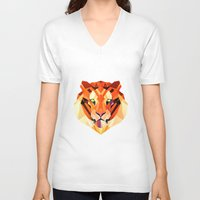 low poly V-neck T-shirts featuring Low Poly Tiger by Evan Smith