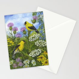 Goldfinches and Thistle Stationery Cards