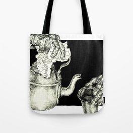 Geometric Black and White Drawing Tea Pot Time Tote Bag