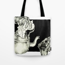 Geometric Black and White Drawing Tea Pot Time Tote Bag