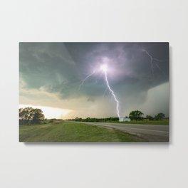 Close Call - Lightning Strike in Kansas Storm Metal Print