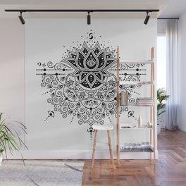 Lotus Blossom Mandala – Black Palette Wall Mural