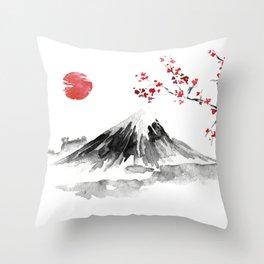 Sunset Over Mt Fuji Throw Pillow