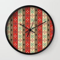 blanket Wall Clocks featuring Sioux Blanket by Robin Curtiss