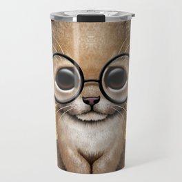Cute Baby Lion Cub Wearing Glasses on Yellow Travel Mug