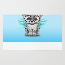 Snow Leopard Cub Fairy Wearing Glasses on Blue Rug