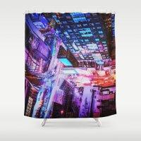 blade runner Shower Curtains featuring New York City Blade Runner by Vivienne Gucwa