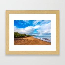Golden Sands Beach, Galapagos With Rainbow Framed Art Print