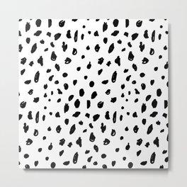 Black geometrical hand painted polka dots confetti pattern Metal Print