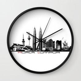 Kuala Lumpur skyline black Wall Clock