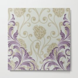 Abstract Lily Scroll | taupe grape Metal Print