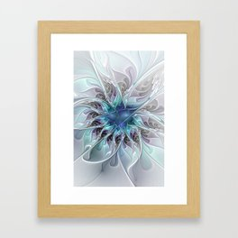 Flourish Abstract, Fantasy Flower Fractal Art Framed Art Print