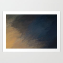 Abstract Blue Beige and Black Shades. Like painted on canvas. Art Print