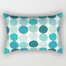 Midcentury Modern Dots Blue Rectangular Pillow