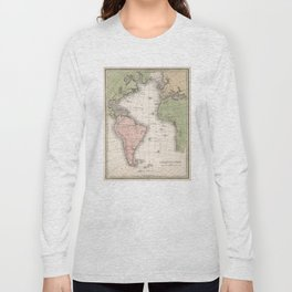 Vintage Map of The Atlantic Ocean (1838) Long Sleeve T-shirt