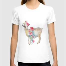 goat with flower crown T-shirt