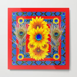 RED-BLUE PEACOCK JEWELED SUNFLOWERS DECO ABSTRACT Metal Print