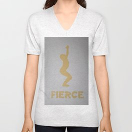 Screenprinted Yoga Art - Utkatasana - Fierce Pose  -Wild Veda Unisex V-Neck