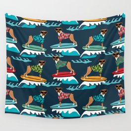 Boxer surfing pattern cute pet gifts dog lovers boxer dog Wall Tapestry