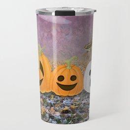wood frogs, smiling pumpkins, & ghost clouds Travel Mug