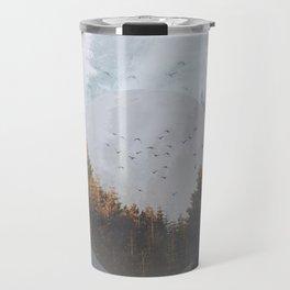 Fog forest geometrical circle collage Travel Mug