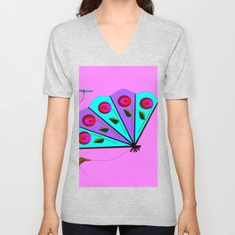 A Lavender and Blue Fan with Tassel Unisex V-Neck