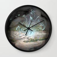 labyrinth Wall Clocks featuring Labyrinth by Emily Marsh
