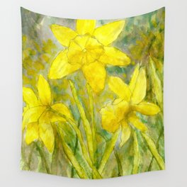 Rise and Shine, Watercolor Daffodils Painting Wall Tapestry