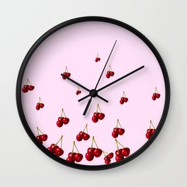 DECORATVE FALLING RED CHERRIES FROM SOCIETY6 Wall Clock