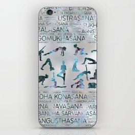 Yoga Asanas / Poses Sanskrit Word Art  Labradorite on pearl iPhone Skin