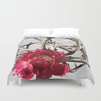 antler Duvet Covers featuring Antler Flower by Jodi Kassowitz Photography