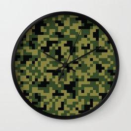 Digital Green Camouflage Pattern Wall Clock