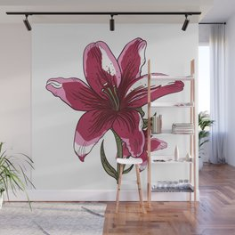 Lily Flower Illustration Wall Mural