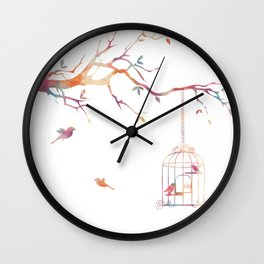 Pink Textured Birdcage Wall Clock