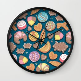 Mexican Sweet Bakery Frenzy // turquoise background // pastel colors pan dulce Wall Clock