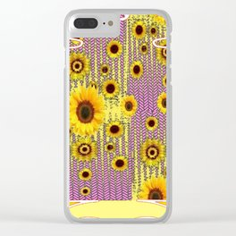 YELLOW ART NOUVEAU SUNFLOWERS ABSTRACT DESIGN Clear iPhone Case