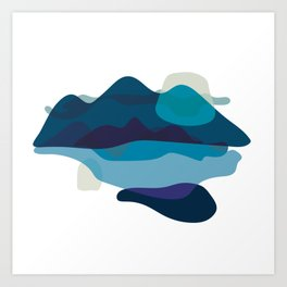 Abstract Mountains Landscape in Blue Art Print