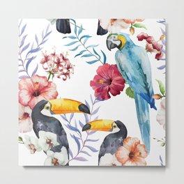 Tropical Bird Pattern 01 Metal Print