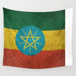 Old and Worn Distressed Vintage Flag of Ethiopia Wall Tapestry