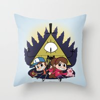 gravity falls Throw Pillows featuring Gravity Falls by Matt Tichenor
