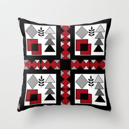 Ethnic pattern in red-black-white colors Throw Pillow