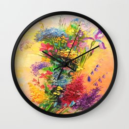A bouquet of beautiful wildflowers Wall Clock