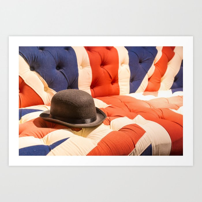 Black Bowler Hat On Union Jack Chesterfield Sofa Art Print By