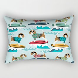 Beagle surfing pattern cute pet gifts dog lovers beagles Rectangular Pillow