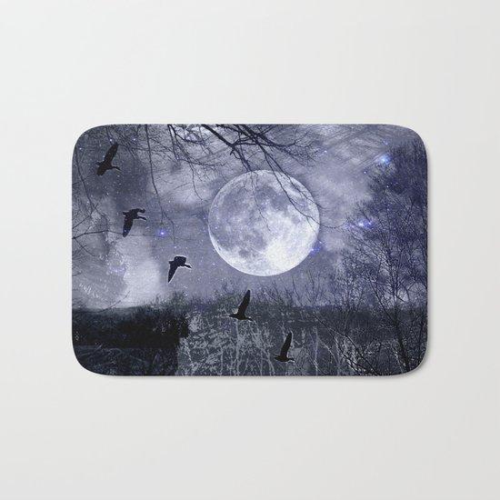 full moon in the woods Bath Mat