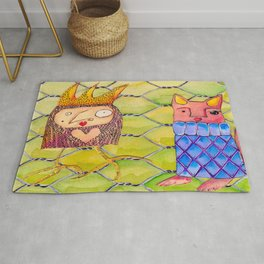 Fox and Chicken in the Coop Rug