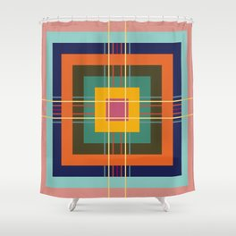 Fine Lines on Retro Colored Squares Shower Curtain